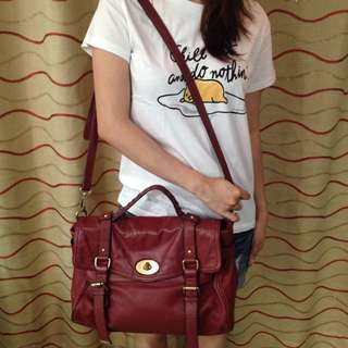 Maroon Leather Satchel Bag by Sisley