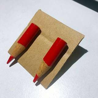 Red Drop Pencil Earrings - Studs