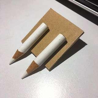 White Pencil Drop Earrings -studs