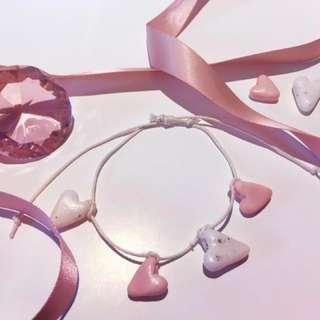 Polymer Clay Heart Anklet/bracelet