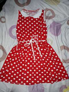 Red polka dots dress for girls
