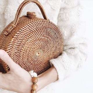 Sadie Wicker Hand Carry Rattan Bag