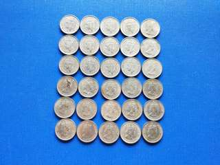 King George vi and Queen Elizabeth II 10 cents coin 30 pieces