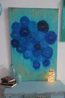 Acrylic Painting blue abstract painting on canvas