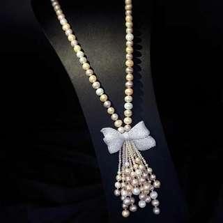 925銀鑲嵌鋯石蝴蝶結🎀➕天然淡水8-9mm混色珍珠流蘇項鍊,長度30寸。