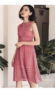 Fashmob ORACLE CROCHET MIDI IN ROSE