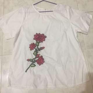 Atasan Putih Bordir Bunga