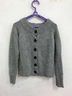 🚚 9成新-初春和秋天氣質灰色羊毛上衣