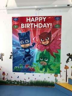 PJ Mask birthday wall decor