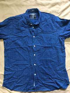 H&M Blue Polka Dotted Button Down