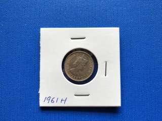 Malaya British Borneo Queen Elizabeth II 10 cent coin 1961H