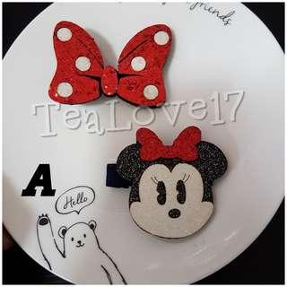 Minnie hair clip set red