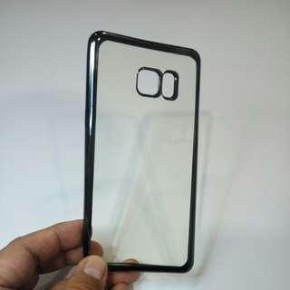Samsung Note FE softcase warna sisi chrome hitam