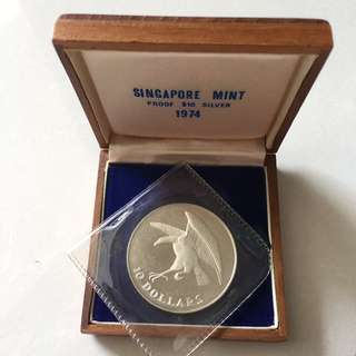 Singapore Eagle 1974 $10 proof coin in box