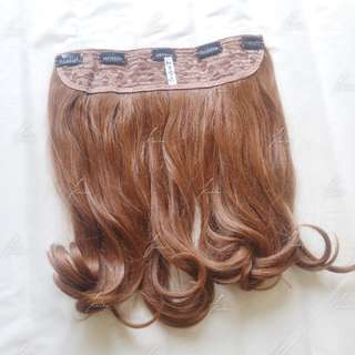 7Revolution big layer hairclip light chestnut brown +-40cm straight blow