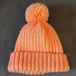冷帽 小童 手織 橙色