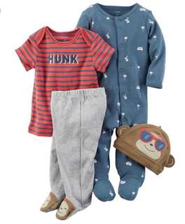 *Newborn* Brand New Carter's 4-Piece Take Me Home Set For Baby Boy