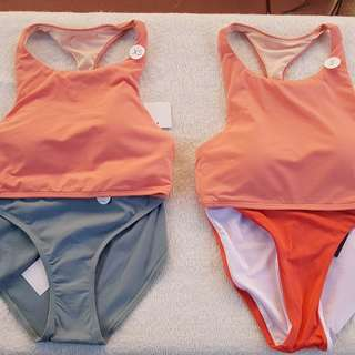 Peach pink swimsuit two piece
