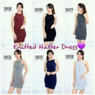 Knitted halter dress 🔖320  🆓size fits up to Medium