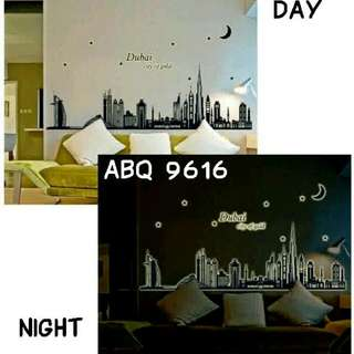 Wall Sticker Glow In The Dark Motif Dubai City