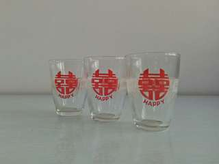 60s Happy Glass Cup perfect condition 3pcs $15