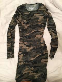 I Am Gia Sheer Camo Dress XS