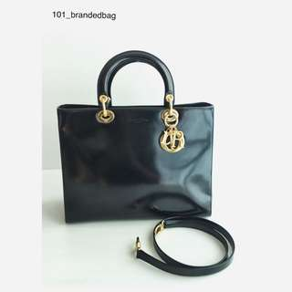Christian Dior Lady Dior Matte Patent Large Tote