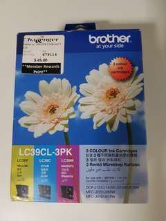 New Brother LC39CL 3 Pack Ink Cartridge (yellow, cyan, magenta)