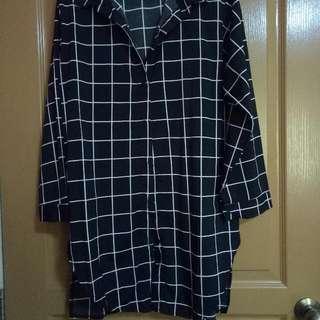 Black Grid Long Blouse