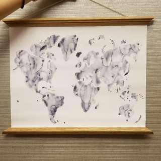 世界地圖麻布掛畫