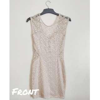 River Island Cream Lace Bodycon Dress
