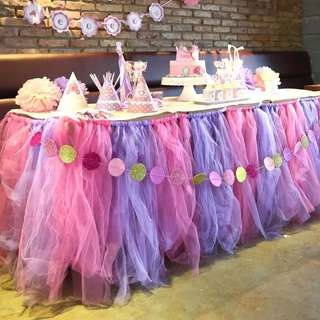 Brand new pink and purple tutu table skirting