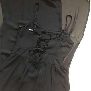 H&M black criss cross back chiffon dress