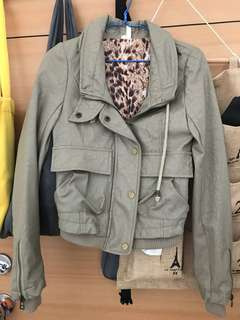 Beige faux leather jacket