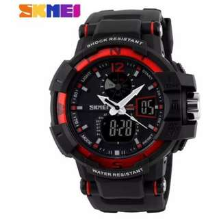 SKMEI AD1040 RED WITH BLACK RUBBER STRAP WATCH FOR MEN - COD FREE SHIPPING