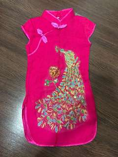 New without tag girls' dark pink qipao