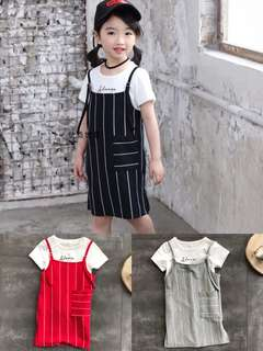 Kids 2 piece dress grey / red