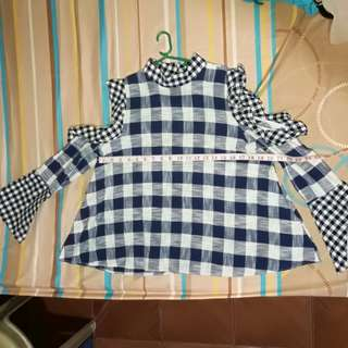 Checkered off shoulder top free delivery within MM