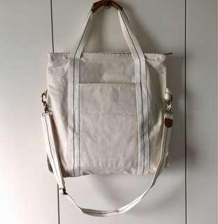 Two-ways tote bag milky white unisex