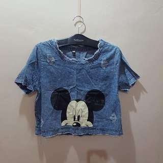 Mickey mouse distressed denim crop top