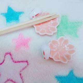 Peach sakura with little rabbit ceramic chopstick holder in pair