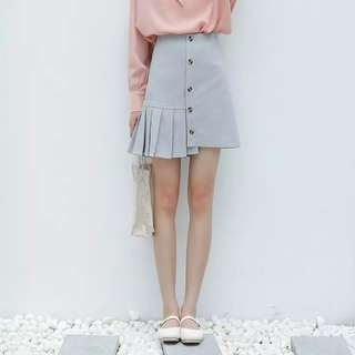 (PO) Pleated Uneven Skirt