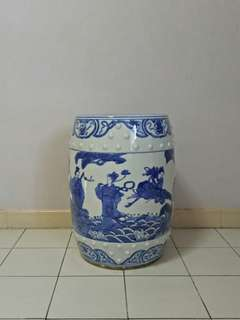 Vintage Porcelain Stool with underglaze blue painting ba xian height 48cm diameter 29cm perfect condition heavy