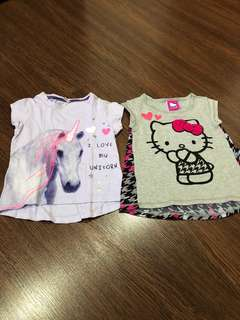 Pre-loved mothercare and hello kitty shirts for girls