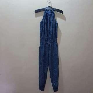 A soft denim look polkadot alter jumpsuit