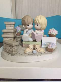 Limited Edition Precious Moments Couple at fireplace figurine : You Are My Home Sweet Home