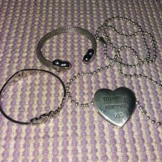 Tiffany like and Stainless steel Philippe charriol inspired bangle and necklace
