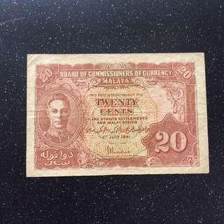 Malaya 1941 20 cents banknotes -2