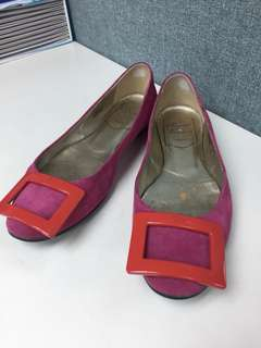 Roger vivier pink suede leather flat Sz 34