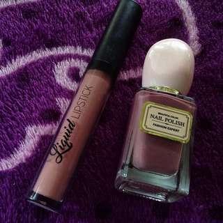BUNDLE!! EB Matte Liquid Lipstick (Mauvey) and Miniso Nail Polish (Purple)